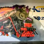 Ein Mural im Bahnhof von Košice