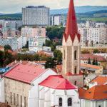 Blick vom Domturm auf die Dominikanerkirche in Košice
