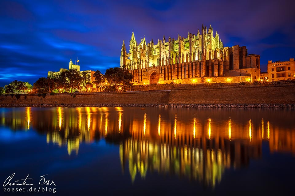 Spiegelung der beleuchteten Kathedrale von Palma de Mallorca