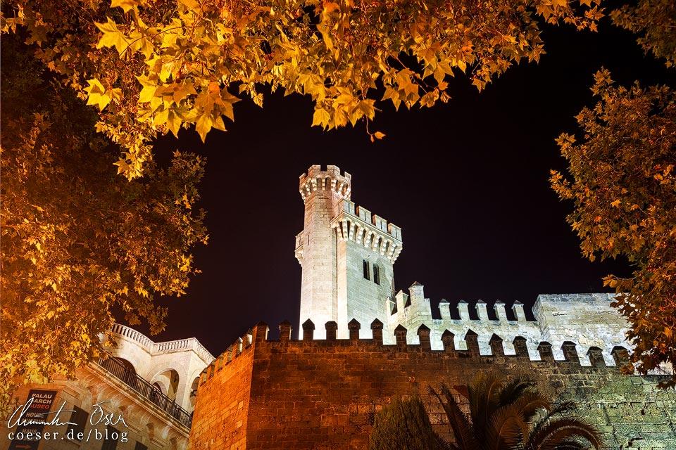 Beleuchteter Königspalast La Almudaina in Palma de Mallorca