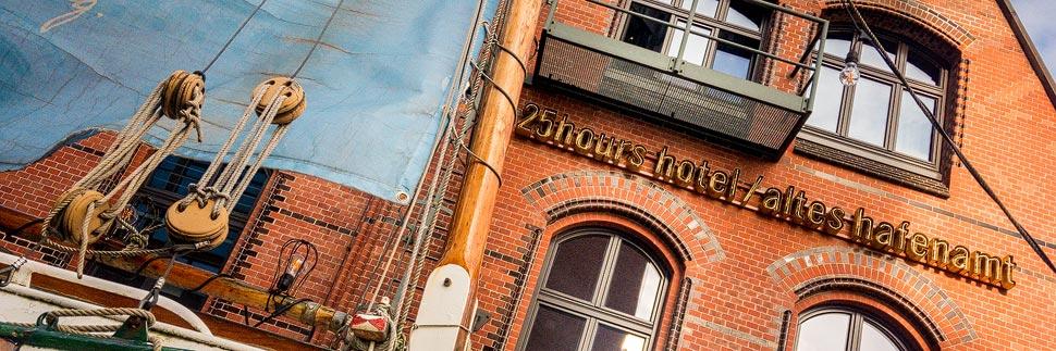 Außenansicht des 25hours Hotel Altes Hafenamt in Hamburg
