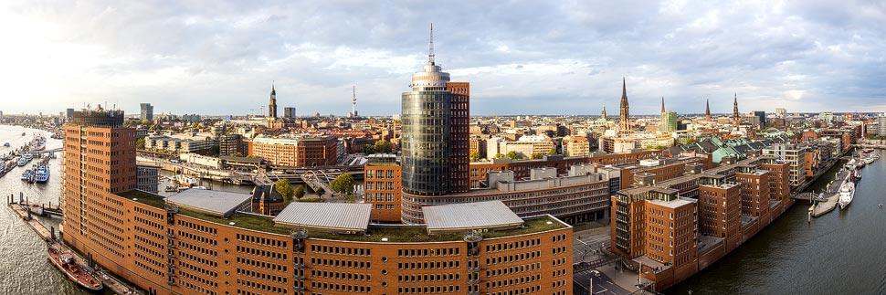 Panoramaansicht von Hamburg