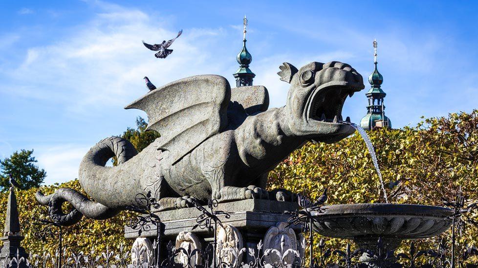 Der Lindwurm, das Wahrzeichen von Klagenfurt am Wörthersee
