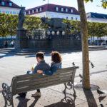 Der Lindwurmbrunnen auf dem Neuen Platz von Klagenfurt