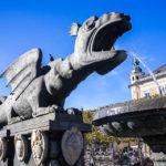 Der Lindwurmbrunnen, das Wahrzeichen von Klagenfurt