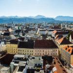 Panorama von Klagenfurt, gesehen vom Turm der Stadtpfarrkirche