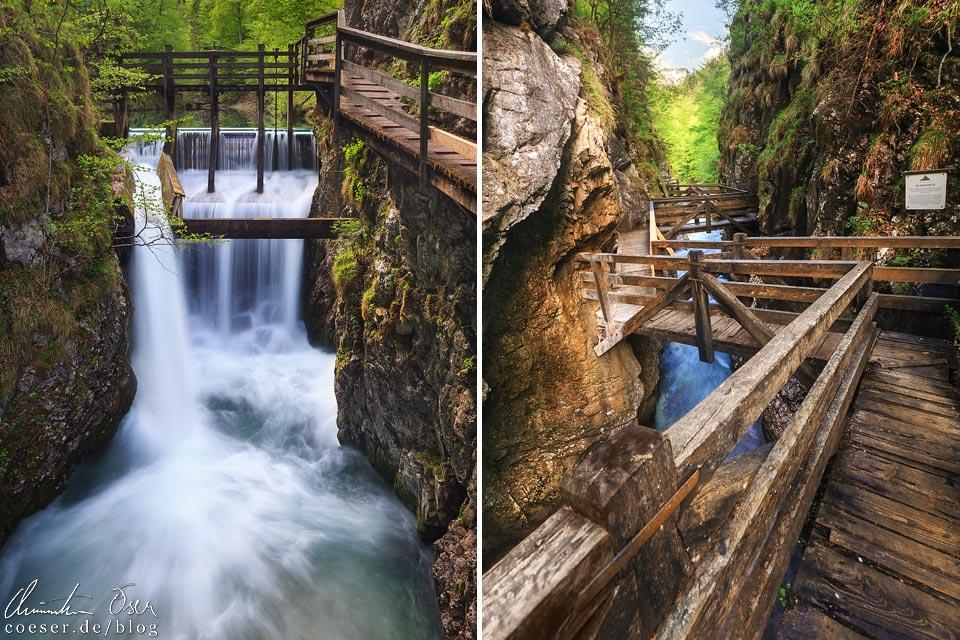 Klause und Holzstege in der Erlebniswelt Mendlingtal