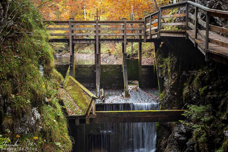 Steinkastenklause während des Schautriftens (Holztrift) in der Erlebniswelt Mendlingtal