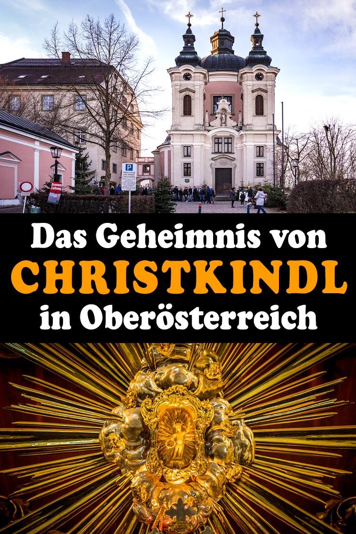 Christkindl: Erfahrungsbericht zum Wallfahrtsort bei Steyr mit der Wallfahrtskirche, der mechanischen Krippe, der Pöttmesser-Krippe und dem Sonderpostamt.