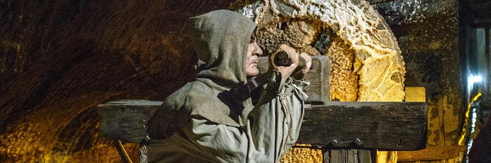Figur eines Bergarbeiters im Salzbergwerk Wieliczka bei Krakau