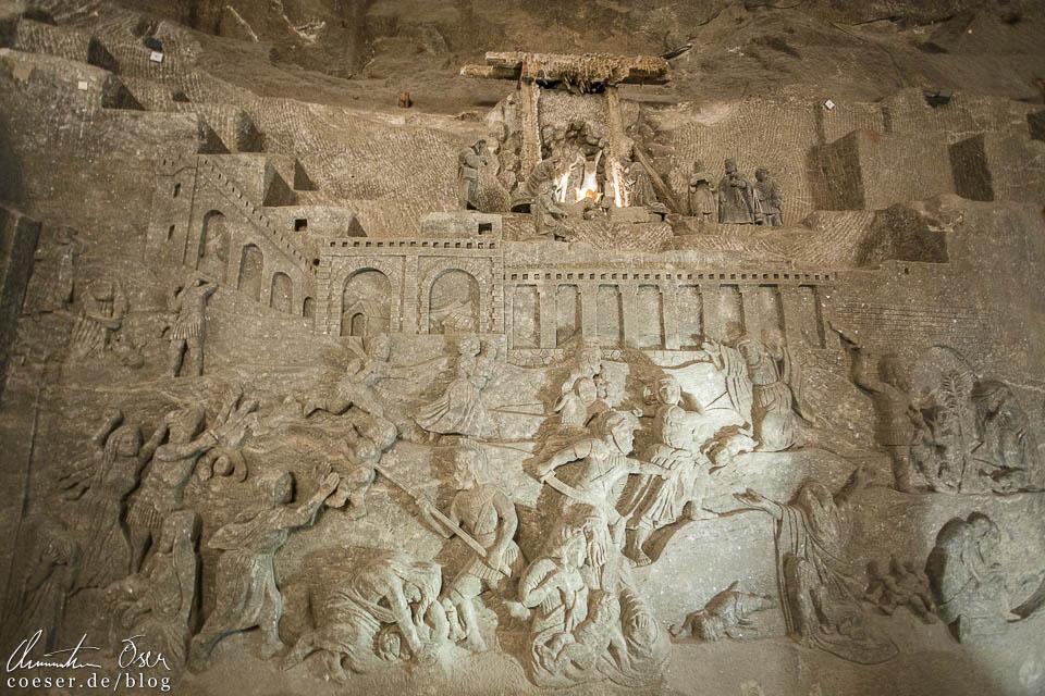 Wandkunstwerke in der Hl.-Kinga-Kapelle im Salzbergwerk Wieliczka bei Krakau