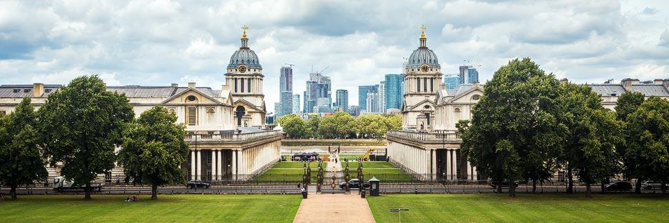 University of Greenwich und die Skyline von London