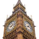 Nahaufnahme des Elizabeth Tower, in dem die Glocke Big Ben hängt