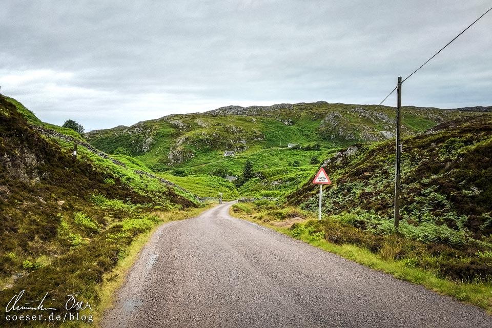 Single Track Road nach Tarbet und Handa Island in Schottland