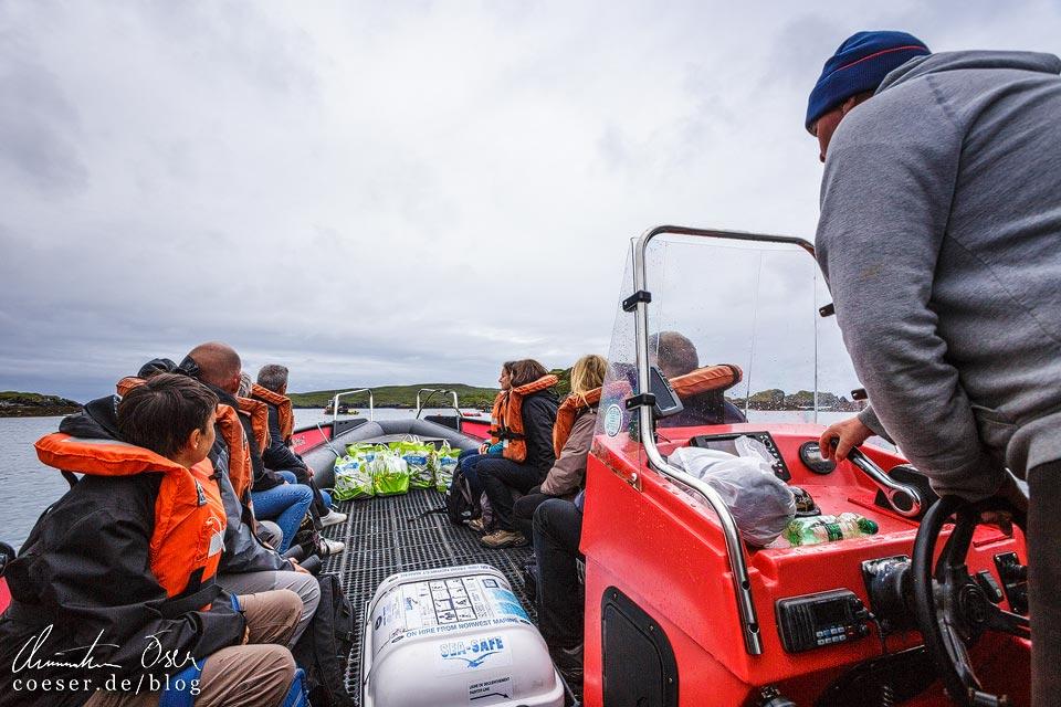 Fahrt mit dem Boot auf die insel Handa Island in Schottland