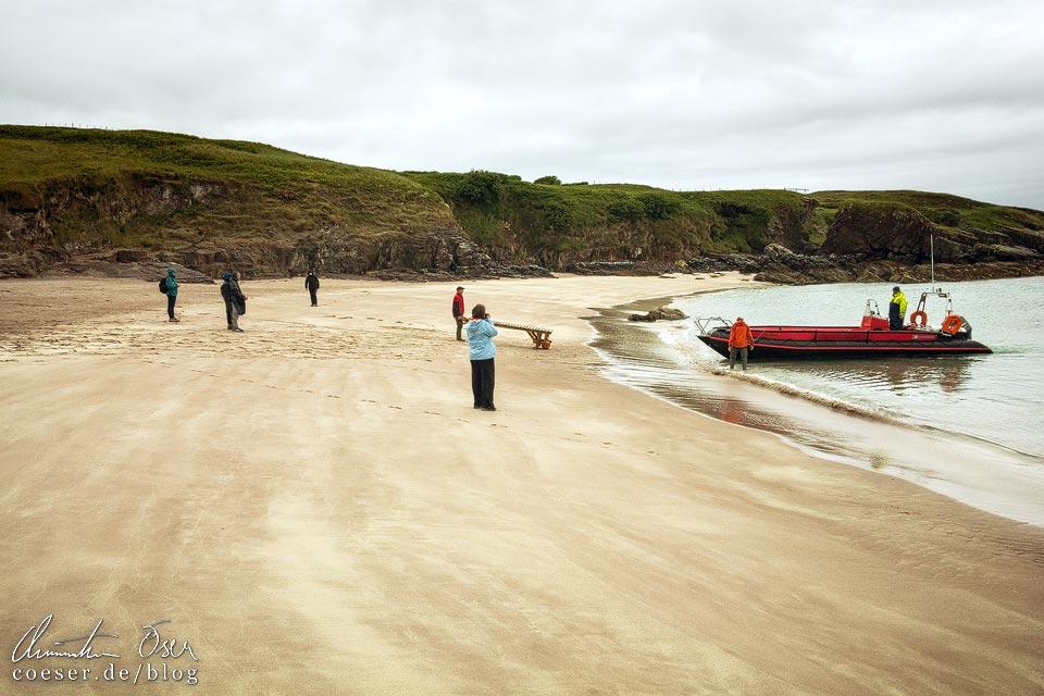 Bootsanlegestelle auf Handa Island in Schottland