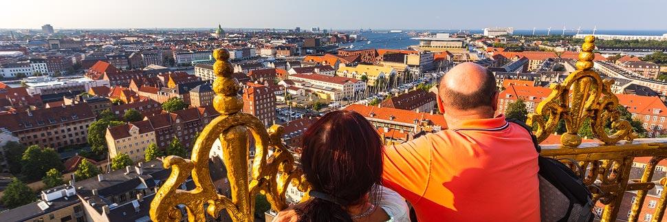Aussicht vom Turm der Kirche Vor Frelsers Kirke in Kopenhagen