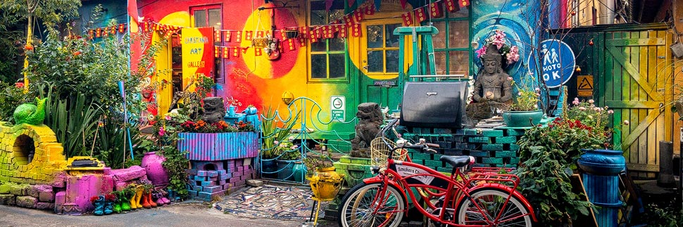 Buntes Haus im Freistadt Christiania in Kopenhagen