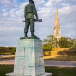 Blick vom der Statue des Gefallenen Soldaten (Vore Faldne) auf die St.-Alban-Kirche