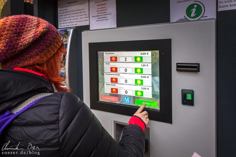 Ticketautomat für die Myrafälle