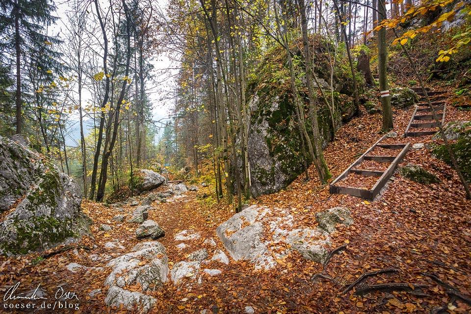 Wanderweg entlang der Myrafälle zum Hausstein