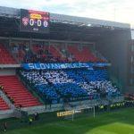 Choreographie in der City Arena (Štadión Antona Malatinského) vor dem Spiel Spartak Trnava - Slovan Bratislava