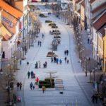 Ausblick vom Stadtturm von Trnava in Richtung Fußgängerzone Hlavná