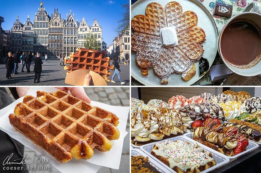 Belgische Waffeln in den Städten Brüssel, Antwerpen, Brügge und Gent