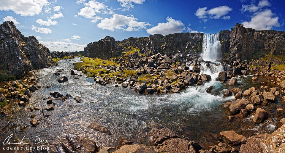Der Wasserfall Öxarárfoss im Nationalpark Thingvellir (Þingvellir) in Island