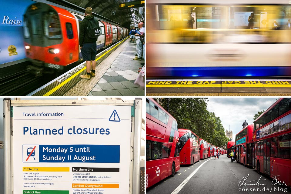 Fotos der Subway (Tube) und der roten Busse in London