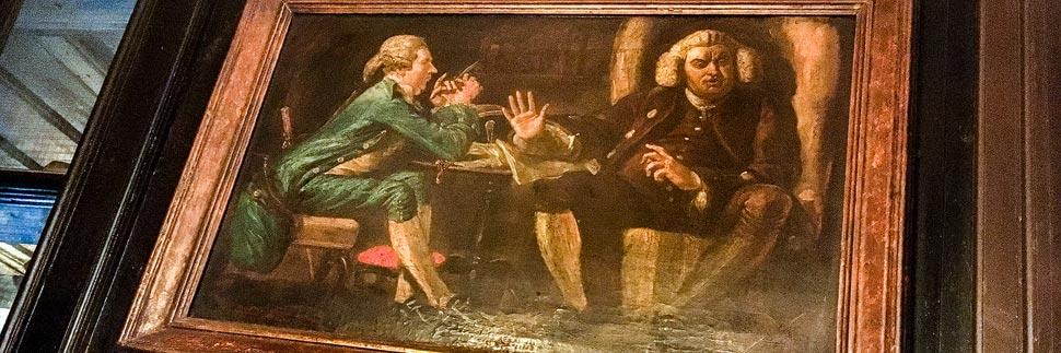 Schriftsteller Samuel Johnson auf einem Gemälde im Pub Ye Olde Cheshire Cheese in London