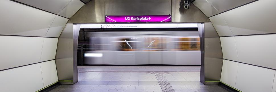 U-Bahn U2 in der Station Taborstraße in Wien