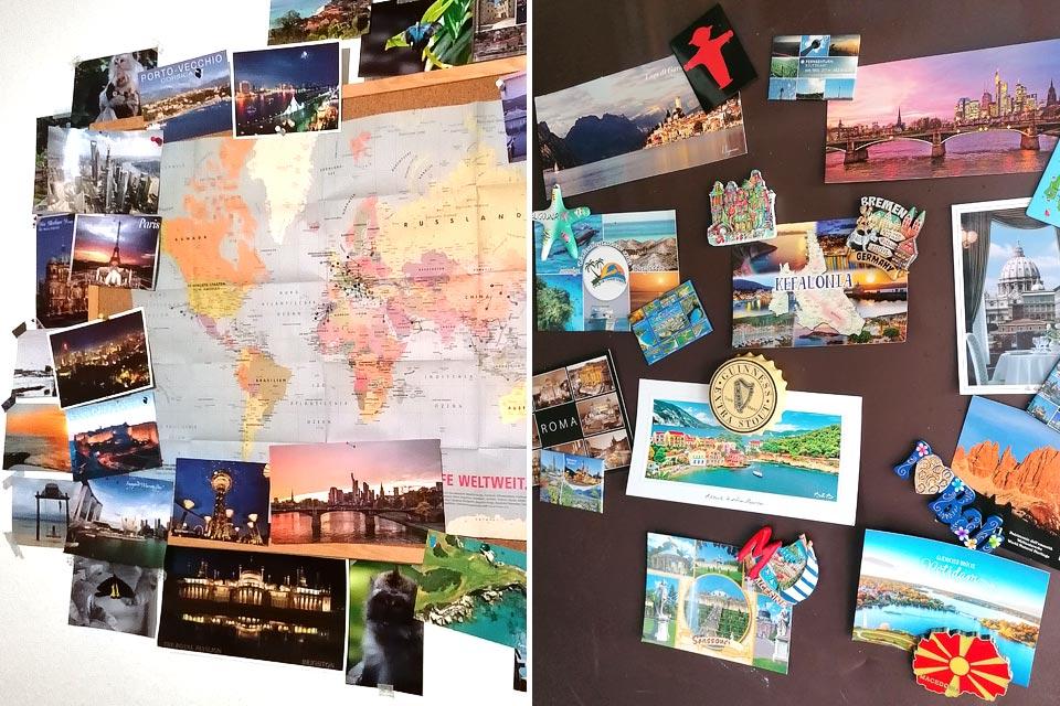 Magnete und Postkarten als Reisesouvenirs