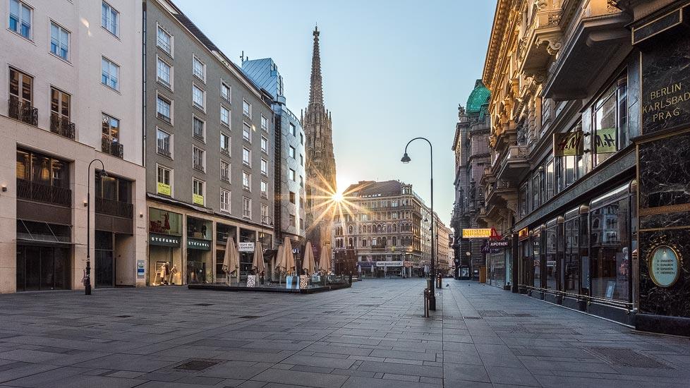 Leerer Stephansplatz in Wien während der Coronaviruskrise