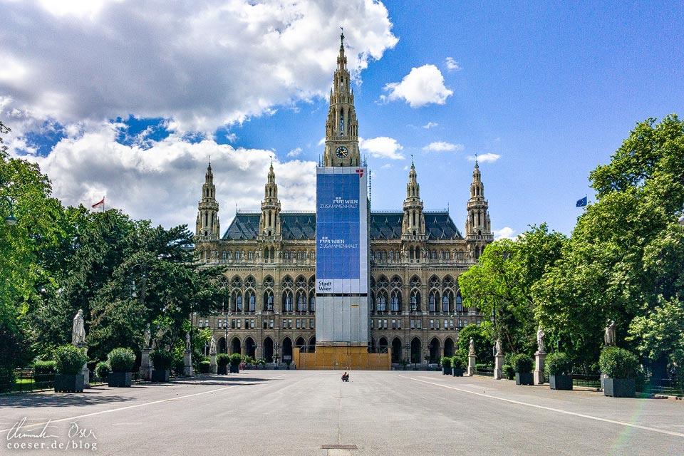 Das leere Wien in der Coronaviruskrise: Rathausplatz