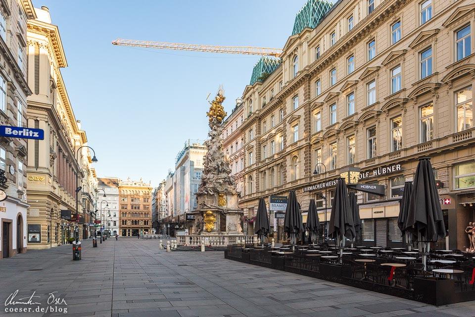Das leere Wien in der Coronaviruskrise: Innenstadt und Graben