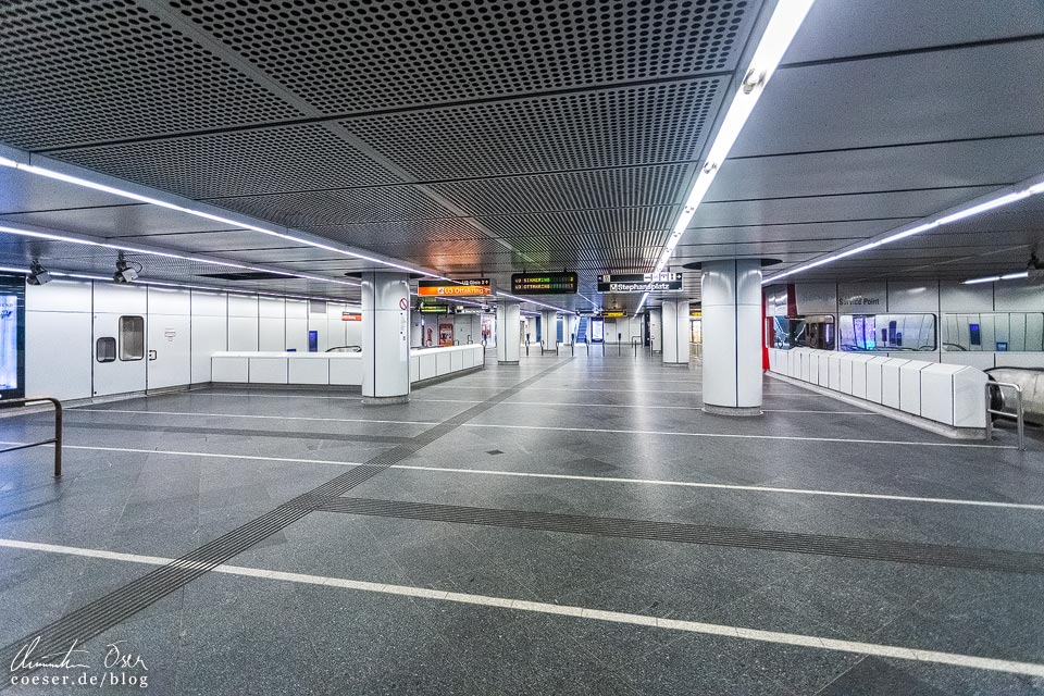 Das leere Wien in der Coronaviruskrise: U-Bahn-Station Stephansplatz