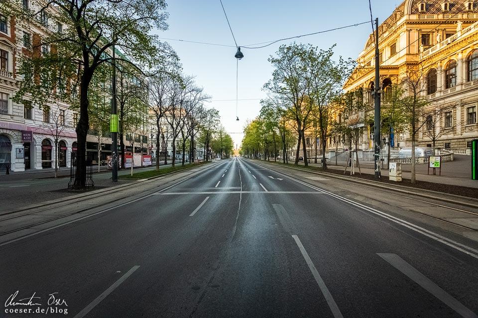 Das leere Wien in der Coronaviruskrise: Ringstraße