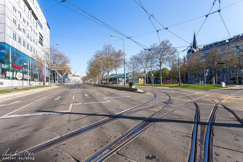 Das leere Wien in der Coronaviruskrise: Westbahnhof, Europaplatz und Gürtel