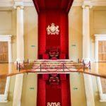 Königsthron in der Banqueting Hall im Banqueting House in London