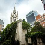 Außenansicht der ehemaligen Kirche St Dunstan-in-the-East in London
