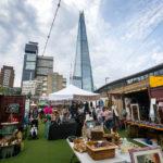 Street Market Vinegar Yard und The Shard in London