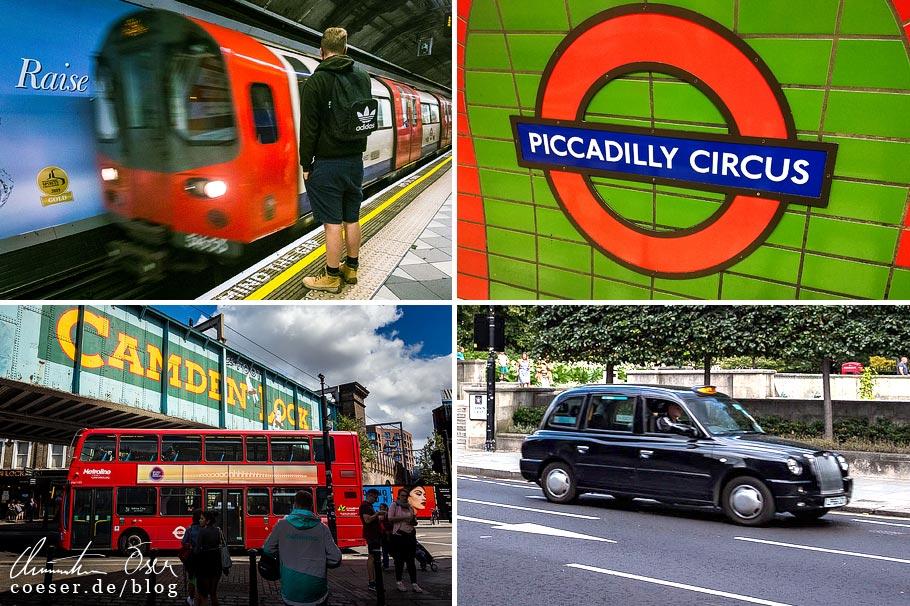 Citytrip nach London: Londoner Underground, Logo der Underground, Londoner Doppeldeckerbus, Londoner Taxi