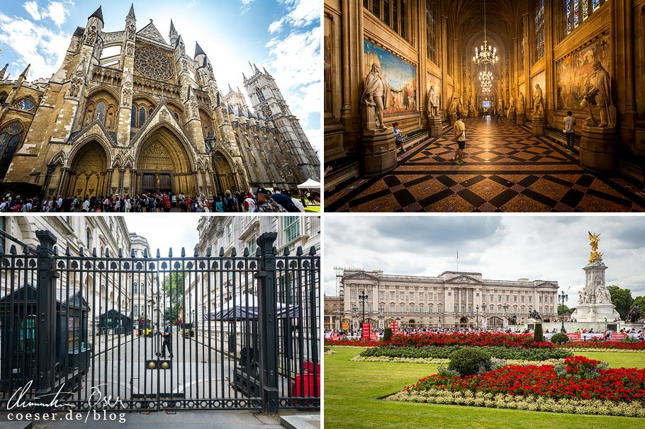 Citytrip nach London: Westminster Abbey, Palace of Westminster, 10 Downing Street, und Buckingham Palace