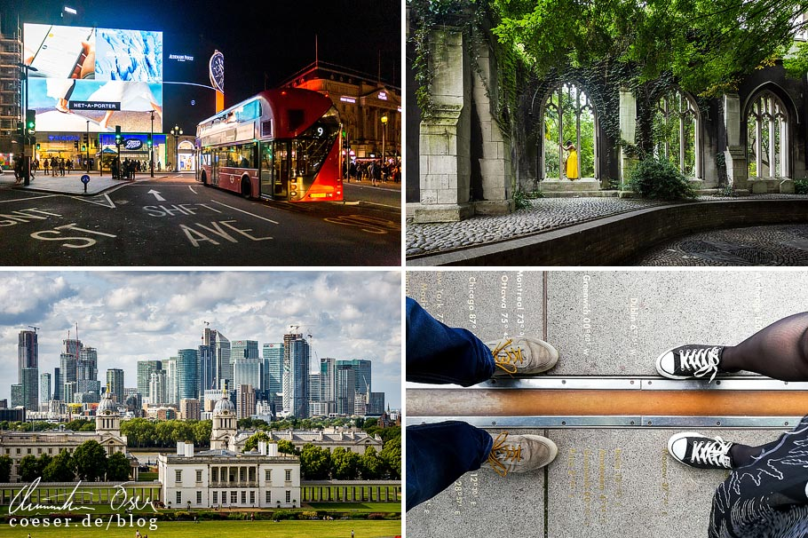 Citytrip nach London: Piccadilly Circus, St Dunstan-in-the-east, Aussicht vom Greenwich Royal Observatory, Null-Meridian im Greenwich Royal Observatory