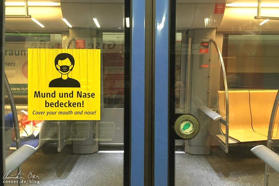 Hinweis zur Maskenpflicht in der U-Bahn von München in Zeiten des Coronavirus