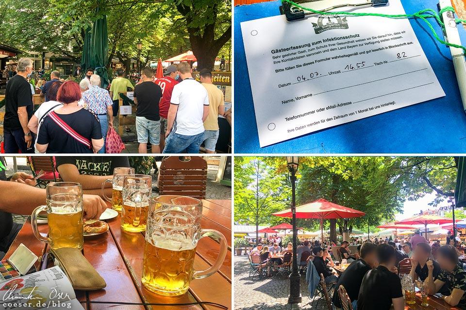 Biergarten am Viktualienmarkt in München in Zeiten des Coronavirus