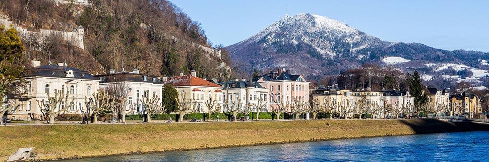 Uferpromenade an der Salzach in Salzburg