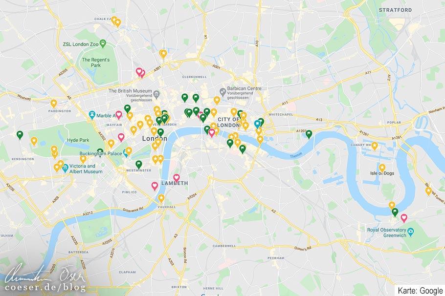 Planung einer Städtereise mit Google Maps