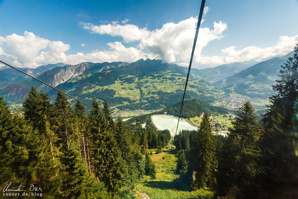 Blick von der Golmerbahn auf das Staubecken Latschau